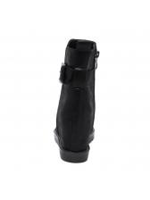 Fashionable Ruched Peep-Toe Black Flat Boots