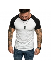 Contrast Color Raglan Sleeve Tee For Men