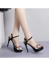 Korean Design Stereo Flower High Heel Sandals