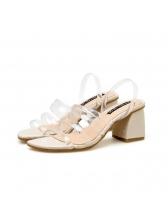 Roman Style Square Toe Chunky Sandals