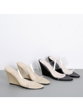 Spring PVC Outdoors Clear Wedges Slippers