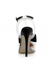 Euro Bow Beading Patchwork Clear Sandals