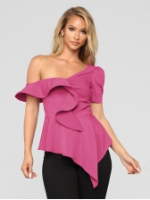 Inclined Shoulder Ruffled Asymmetrical Hem Blouse