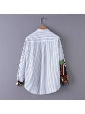Ethnic Striped Printed Turndown Neck Woman Blouse