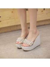 Casual Rhinestone PVC Wedges Slippers