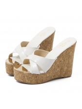 New Arrival Solid Pu Wedges Slippers