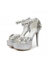 Peep-Toe Stereo Flower Platform Sandals