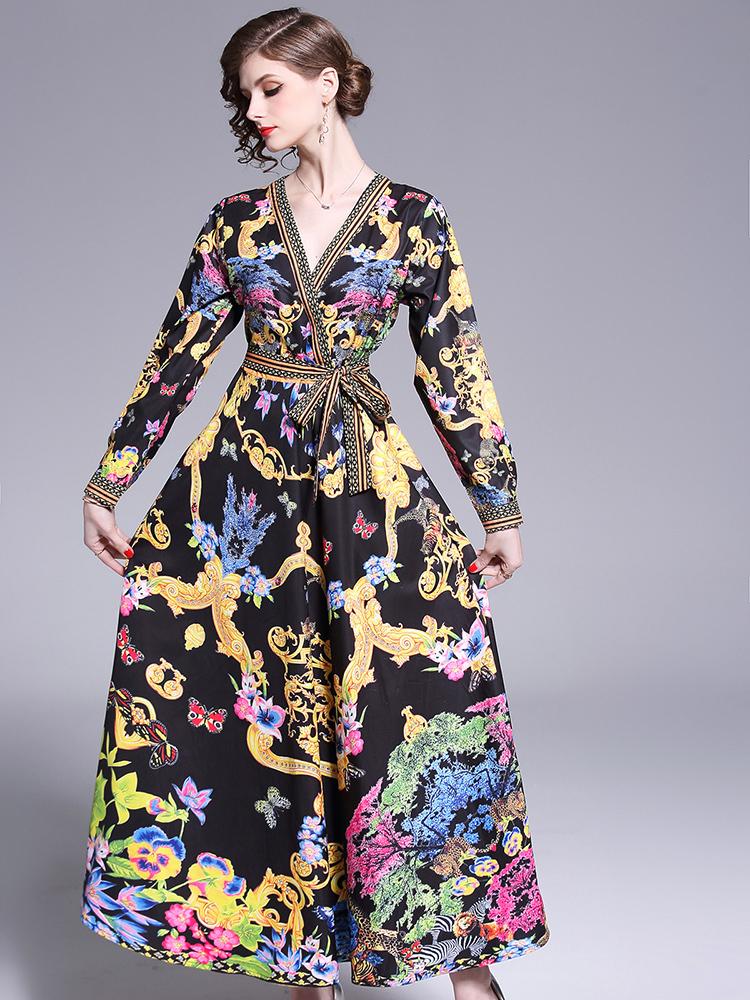 Printing V Neck Tie-wrap Maxi Dresses