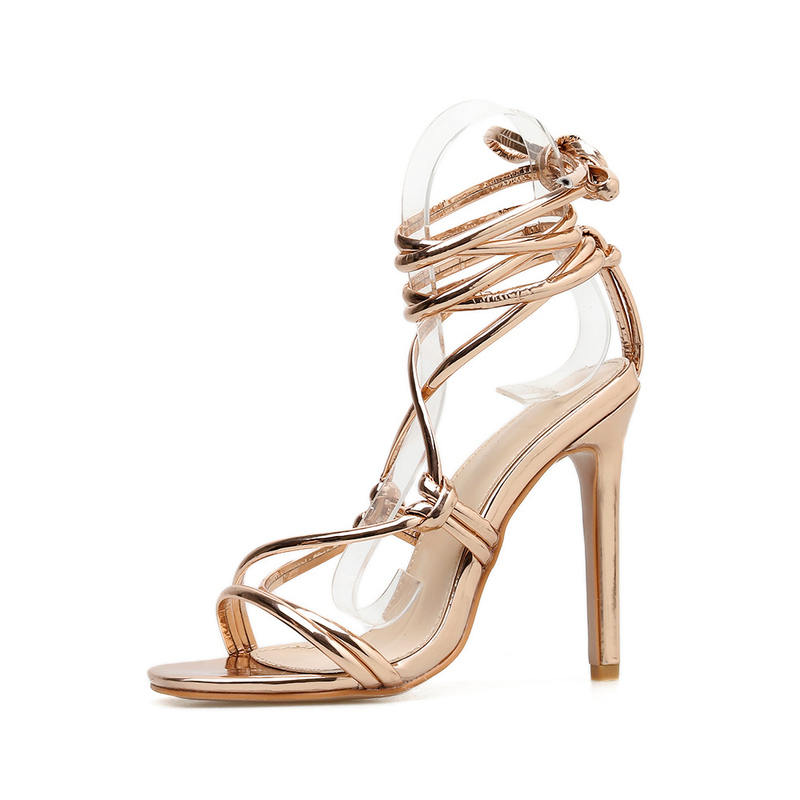 Roma Lace Up Square Toe Thin Heel Sandals
