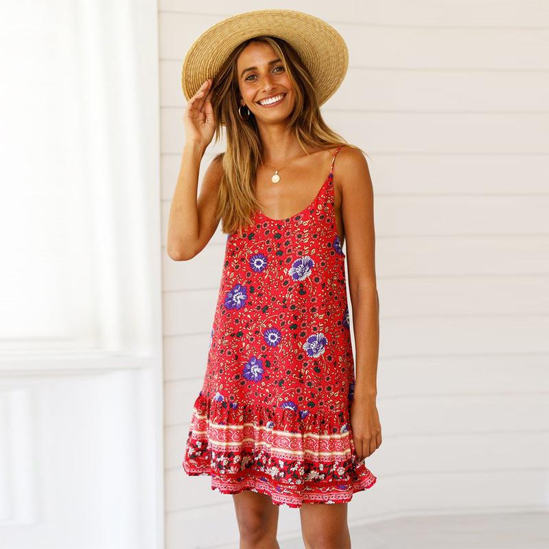 Summer Backless Sleeveless Floral Dress