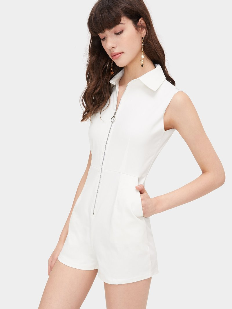 Casual Turndown Neck Sleeveless Pockets White Rompers
