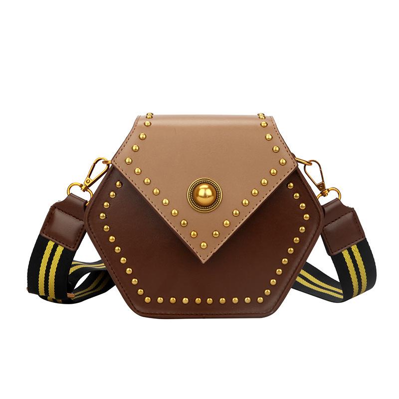 Fashion Contrast Color Polygon Shoulder Bag