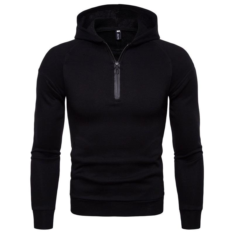 Trendy Zipper Solid Long Sleeve Hoodies