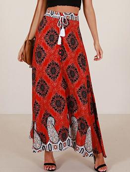Fashionable Printing Irregular Long Skirt