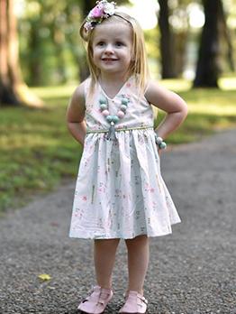 Hot Sale V Neck Floral Vest Dress For Girl
