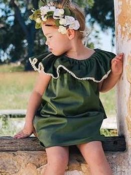 Crew Neck Green Sleeveless Dress For Girls