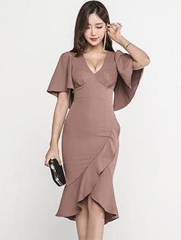Sexy V Neck Bodycon Ruffle Dress