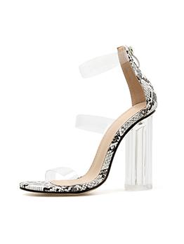Euro Snake Printed Clear Heel Sandals