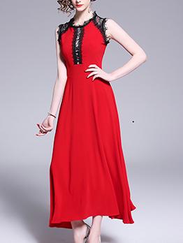 Lace Patchwork Sleeveless Maxi Dresses