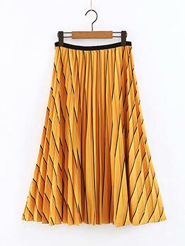 Ethnic Printed Pleated Midi Woman Skirt