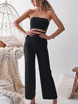 Off Shoulder Solid Hollow Out Matching Jumpsuits