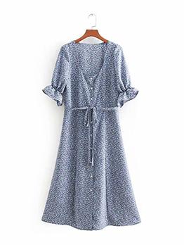 U Neck Tie-wrap Flower Print Dress