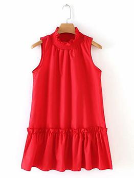 High Neck Red Sleeveless Dress