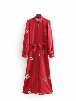 Flowers Binding Bow Red Shirt Dress