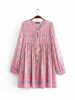 Bohemian Tassels Long Sleeve Floral Dress