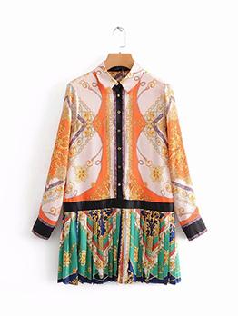 Contrast Color Printing Retro Dresses