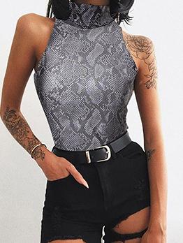 Crew Neck Snake Printed Sleeveless Bodysuit