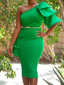 Summer Solid One Shoulder Irregular Dress
