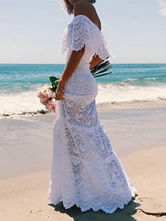 Off Shoulder Lace Beach Maxi Dress