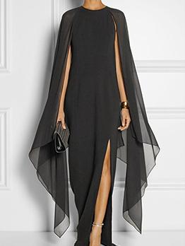 Asymmetrical Sleeve Split Hem Chiffon Maxi Dress