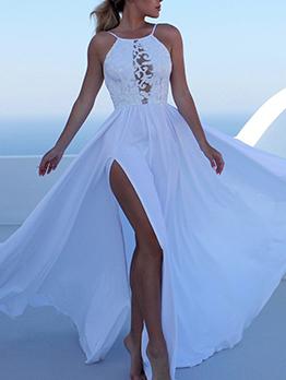 Off Shoulder Lace Detail Split Hem Evening Dress