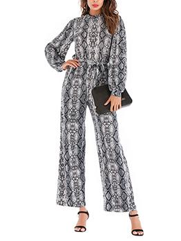 Hot Sale Snake Print Tie-Wrap Black Jumpsuits