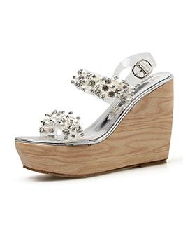Korean Design Beading Clear Wedges Sandals