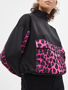 Stylish Leopard Printed Zipper Black Sweatshirt