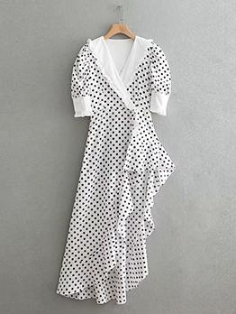 Vintage Irregular Ruffle Polka Dot Dress