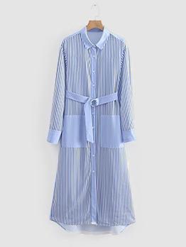 Striped Turndown Collar Shirt Dress