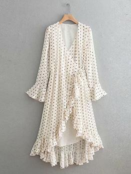 Asymmetrical Ruffle V Neck Polka Dot Dress