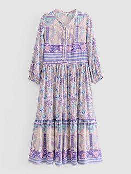 New Arrival Vintage Flower Print Dress