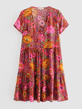 Vintage V Neck Flower Print Dress