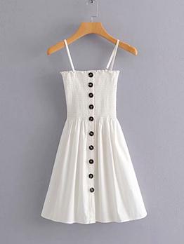 Summer Single-breasted White Sleeveless Dress