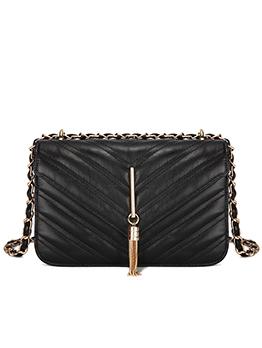 Fashion Chevron Tassel Shoulder Bag With Chain