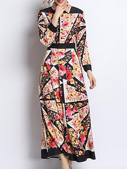 Elegant Color Block Floral Maxi Dress
