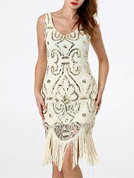 Night Club V Neck Tassels Sequin Dress