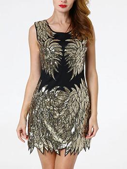 Sequined Irregular Hem Sleeveless Cocktail Dresses