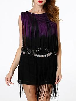 Gradient Color Tassels Sleeveless Cocktail Dresses
