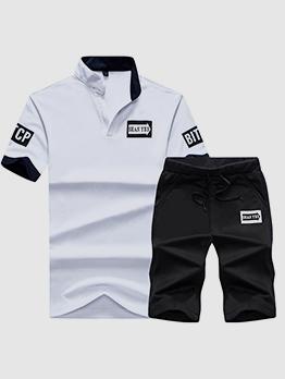 Contrast Color V Neck T-shirt With Half Length Pants